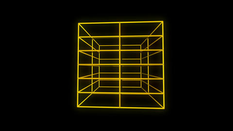 Cubic metamorphosing yellow motion laser lines effect on black motion background Footage