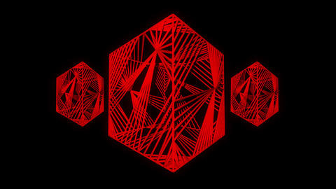 Three red cubic motion laser lines effects on black motion background VJ Loop Live Action