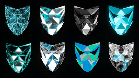 Polygonal Mask Blue Face strobe DJ pattern motion background vj loop Live Action