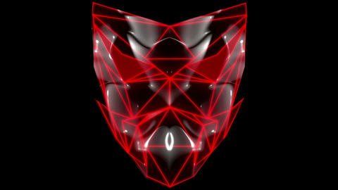 Polygonal red evil robotic mask face motion lines vj loop HD Footage