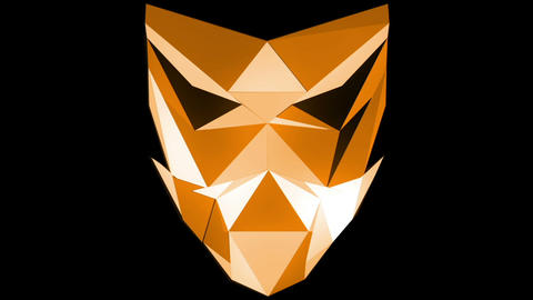 Orange Polygonal mask HD VJ Loop strobing polygons face Live Action