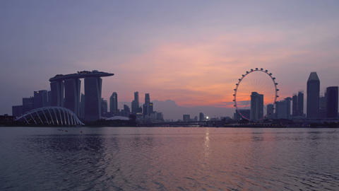 Downtown Singapore city in Marina Bay area. Financial district and skyscraper Live Action