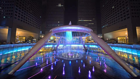 Lights show at Fountain of Wealth in Suntec Tower in Singapore. The most popular Live Action