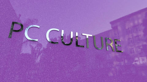 PC Culture Sign Billboard on a Metallic Background Footage
