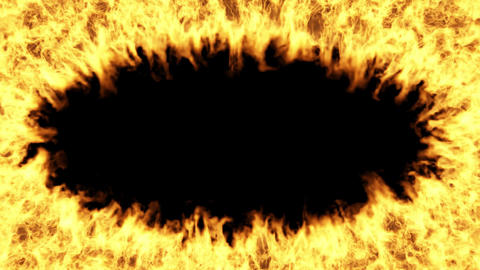 Fire around the black hole. Quickly burning fire sucks in a black hole Animation