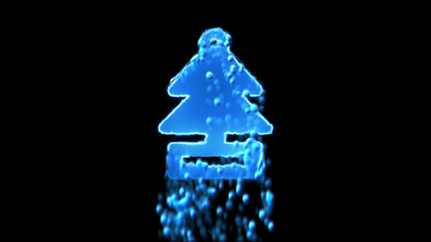 Liquid symbol air freshener - tree appears with water droplets. Then dissolves Animation