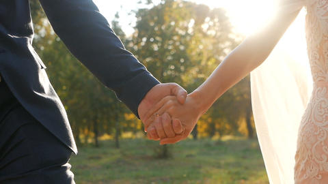 Wedding couple holding hands on sunset background shot in slow motion Live Action