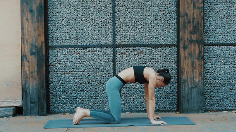 Young beautiful woman practicing yoga. Wellness concept. Calmness and relax 영상물