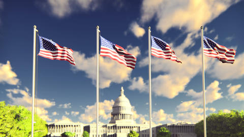 The American flags flutters in the wind on a sunrise against the blue sky and Animation
