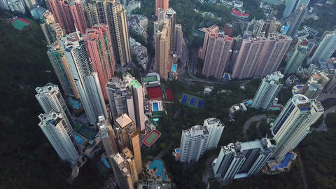 Aerial view of Hong Kong Downtown. Financial district and business centers in Live Action