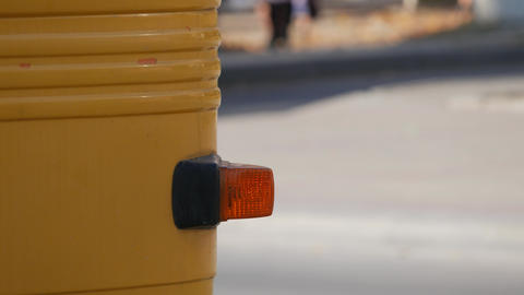 Close up orange direction indicator on car or other vehicle 영상물