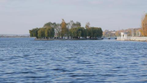 Island of love, Ternopil Ukraine. Lake Stock Video Footage