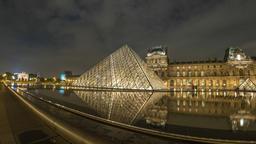 Paris France time lapse 4K, Louvre Museum Pyramid night timelapse hyperlapse Footage