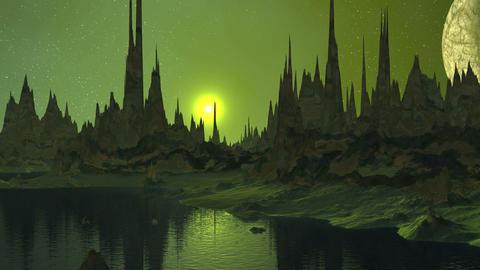 Sunrise and Moon over Alien Lake GIF