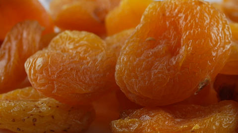 Heap of dried apricots close-up Live Action