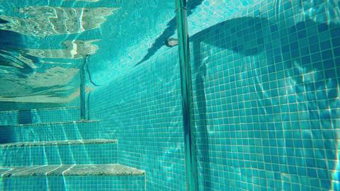 Steps Underwater In The Clean Pool Footage