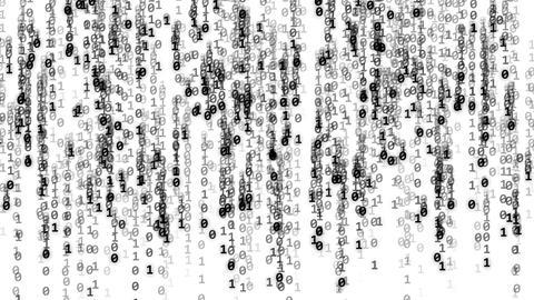 Code binary black background white Animation