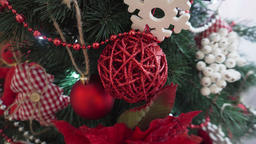 Red Christmas toy, brilliant wicker on the Christmas tree Footage