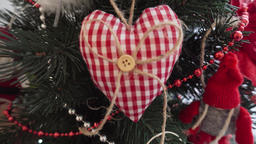 Decorative heart - Christmas decoration on the Christmas tree Footage