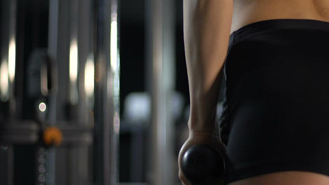 Strong sporty female lifting dumbbells at gym, fitness and motivation, health Live Action