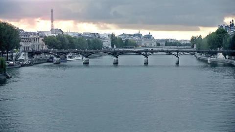 Pont des Arts Bridge on the River Seine in Paris, France Footage