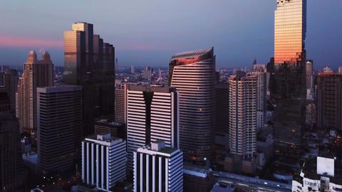 Aerial view of Chong Nonsi, Sathorn, Bangkok Downtown. Financial district and Live Action