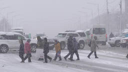 Group people cross city road at pedestrian crossing during snowstorm(blizzard) Footage