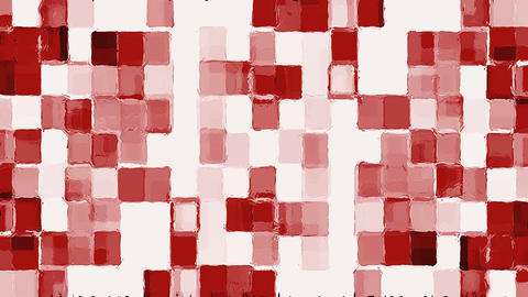 Red Mosaic Squares On White Moving Background Animation