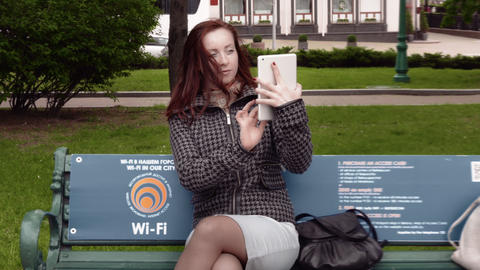 Young Woman Taking Photo With Tablet Footage