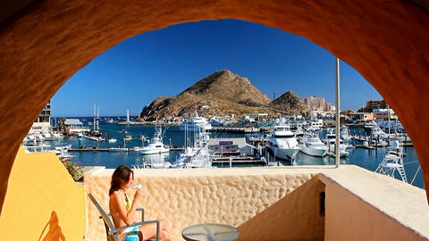 Scenic view from the hotel balcony on the port of Cabo San Lucas. Mexico Footage