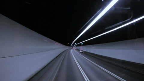 Driving through a Road Tunnel Footage