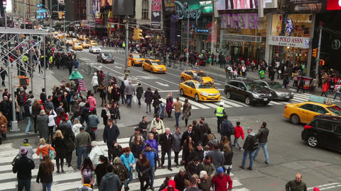 New York City. Cars and Crowd at the Intersection Footage