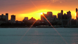 USA New York City 377 Fantastic Golden Yellow Sunrise Behind Brooklyn Skyline stock footage