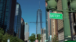 USA New York City 387 Lower Manhattan One World Trade Center from Battery Place Footage