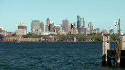 USA New York City 413 Brooklyn cityscape seen from Liberty Island Footage