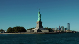 USA New York City 422 statue of liberty with Jersey City skyline Footage