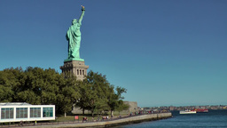 USA New York City 418 statue of liberty seen from ferryboat landing stage Footage