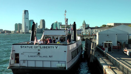 New York City 427 Manhattan Statue of Liberty ferryboat at Pier A south ferry Footage