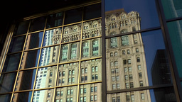 New York City 436 Manhattan financial district old building mirror image Footage