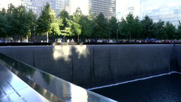 New York City 444 Manhattan 9/11 memorial pool; reflections on water surface Footage