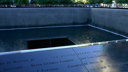 New York City 442 Manhattan Downtown Financial District 9/11 Memorial South Pool stock footage