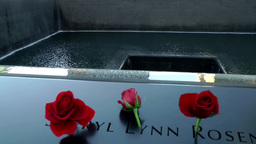 New York City 449 Manhattan 9/11 memorial border names inscribed and roses Footage