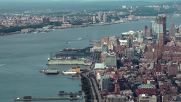 New York City 461 Husdon River and Chelsea district from above WTC Footage