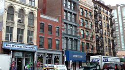 New York City 471 old house facades in downtown Chinatown district Footage
