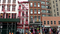 New York City 470 old house facades in downtown Chinatown district Footage