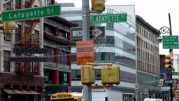 New York City 476 downtown Chinatown district Lafayette Street crossing Footage