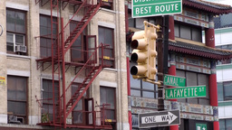 New York City 478 Chinatown Lafayette Canal Street crossing signs traffic lights Footage
