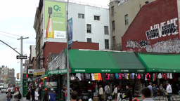New York City 469 downtown Chinatown district clothes and souvenirs shop Footage