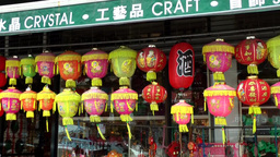 New York City 487 Chinatown district; souvenir shop with Chinese paper lanterns Footage