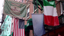 New York City 497 Little Italy; Italian, European and Stars and Stripes flag Footage